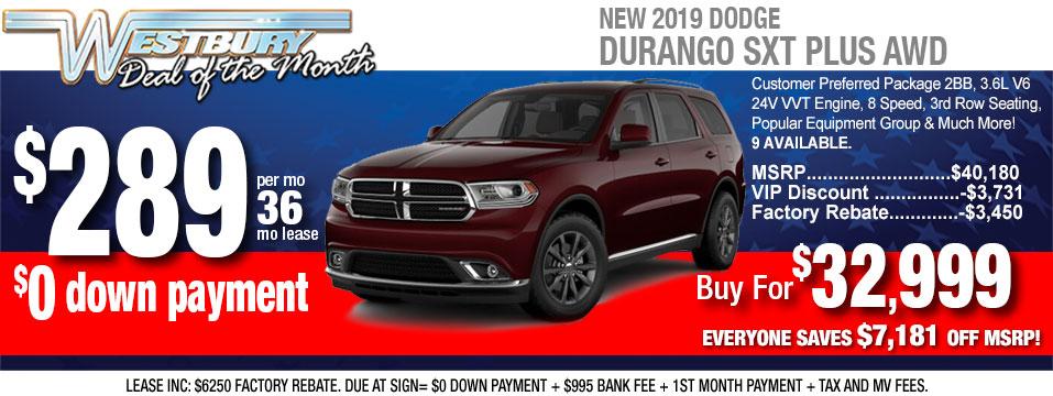 0 Down Lease Deals >> Dodge Durango Lease Nj 2020 Dodge Durango Lease Financing